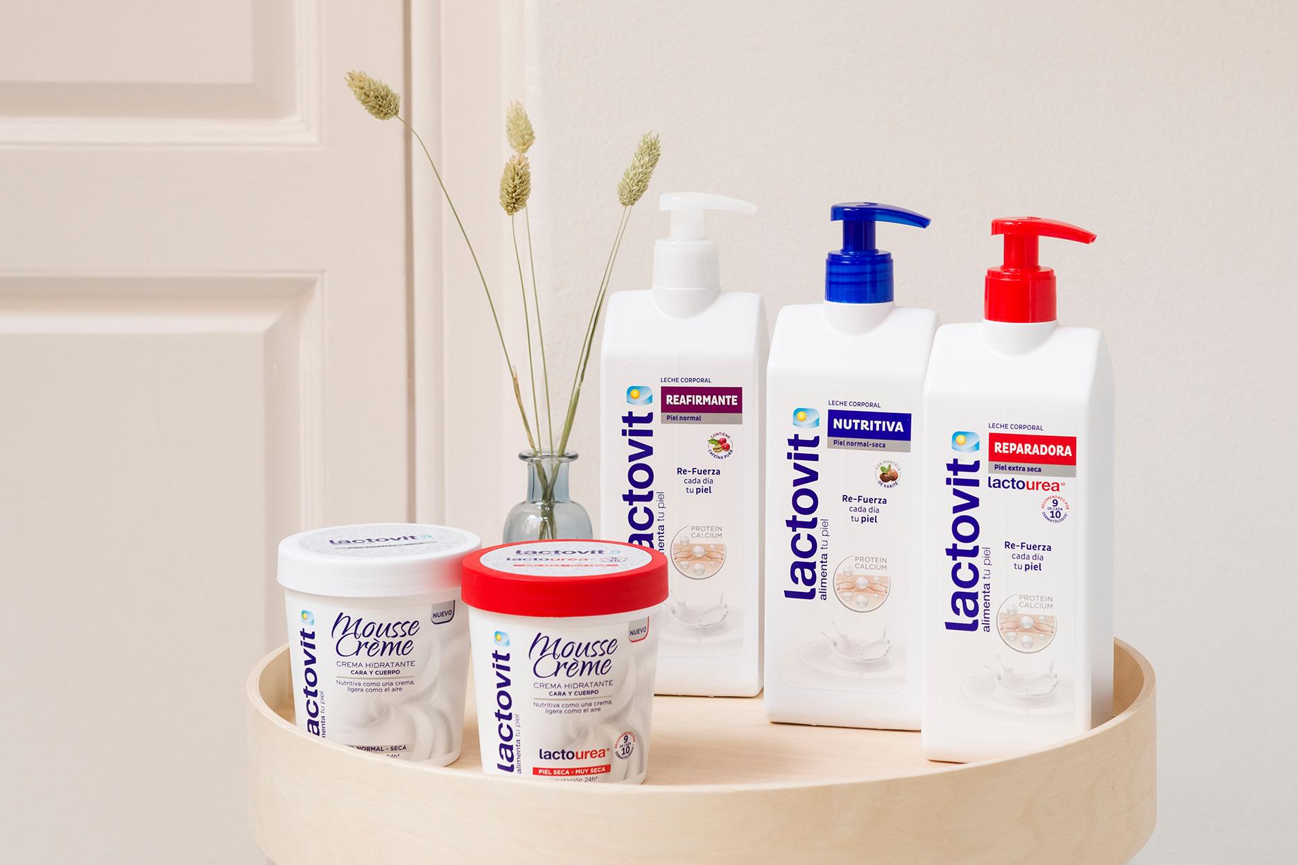 crema mousse y leche corporal lactovit, gama de productos para hidratar tu piel
