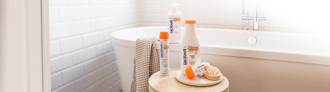 productos para proteger tu piel, gel de ducha, desodorante y loción corporal