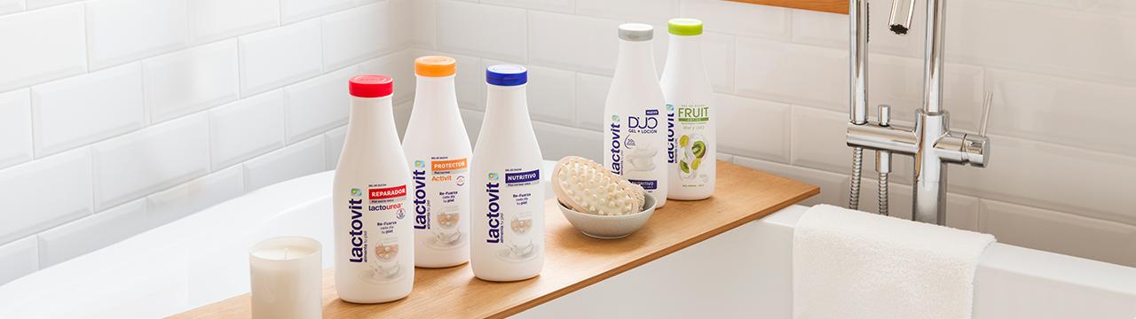 gama de productos gel de ducha lactovit, con novedades
