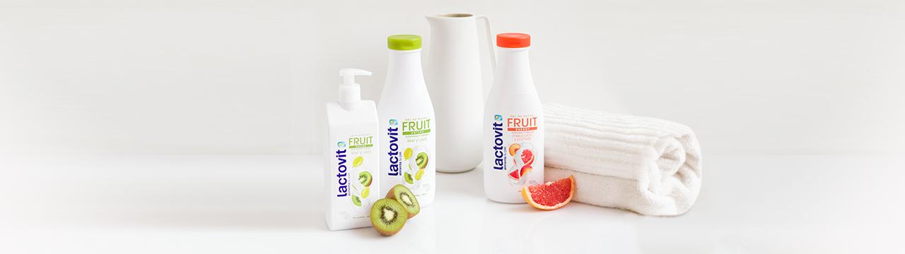 gama frutal de leche corporal y gel lactovit, con kiwi y uva o melocotón y pomelo