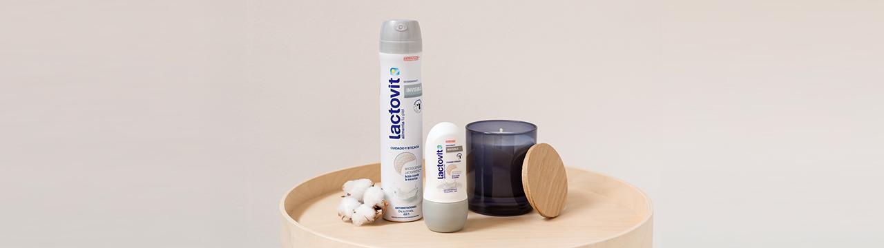 desodorantes invisibles lactovit, formato spray y roll-on