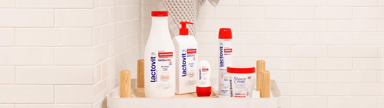 Set de productos reparadores con lactourea de Lactovit.