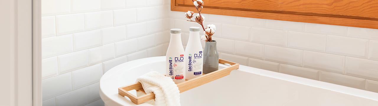 nueva gama duo lactovit, gel de ducha y loción